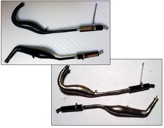 Dettaglio marmitte Honda NSR 250 Repsol